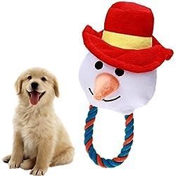 UEETEK Juguetes de peluche para mascotas de Navidad Juguetes para masticar perros Gatos cachorro Sonido de morder lindo Juguetes chirriantes Diseño de muñeco de nieve