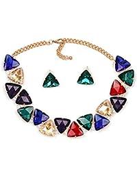 d9f08ea5ac18 YANGDJ Collar Collar Collar Collar Collar De Cristal Y Colgante Declaración  Collar Conjunto De Accesorios De