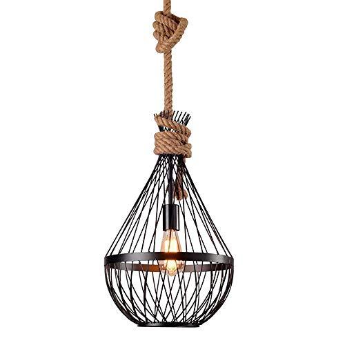 LMDH Lámpara de Metal Ajustable Jaula de Hierro Colgante Luz Acabado Negro Edison Industrial Eduza Luz de la Isla de Cocina Lámpara de Techo de la Vendimia Vintage (Tamaño : 26cm)