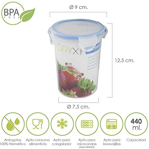 cm Oryx 5025010 Recipiente Hermetico Plastico Cuadrado 170 ml Alt. 8.5x8.5x5