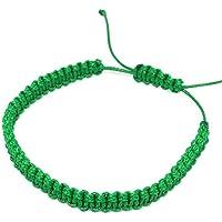 ParticolarModa Bracciale dell' amicizia in corda nylon piatto regolabile Verde