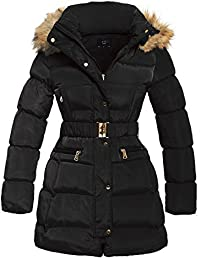 SS7 Women's Padded Faux Fur Hooded Winter Parka Coat, Sizes 8 to 16