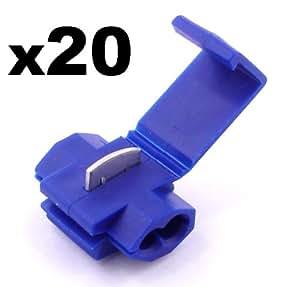 20x Cosse Electrique Connecteur Rapide Bleu - Raccords Auto-Dénudants (Dérivations) - Cosses Electriques (Pour fils jusqu'à 1.1mm to 2.6mm²) - LIVRAISON GRATUITE!