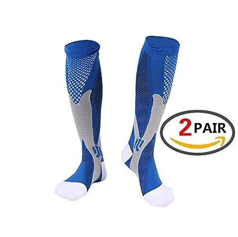 Calf Compression Sleeve for Men & Women, Best Footless Socks for Runners Calves & Leg Cramps, Shin Splints Circulation Remedy, Support Stockings, Running Gear Basketball Lycra tights … Compression Socks (Blue,XL)