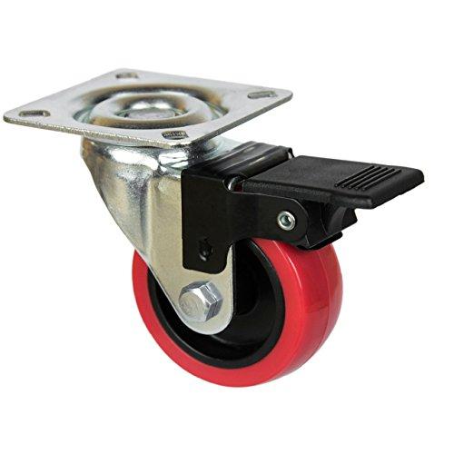 41t2OTgZEuL - QC EY50R22P 4 Ruedas para muebles 2 con freno y 2 sin freno. Diámetro 50mm con placa de montaje y tornillos incluidos. No marca el suelo. Silenciosa. Cojinete Liso. (ROJO)