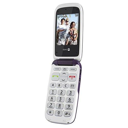 Doro PhoneEasy 612 Mobiltelefon Klapphandy (2 Megapixel Kamera, großen Tasten, UKW-Radio) aubergine