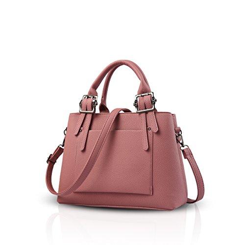 NICOLE&DORIS Elegant Frauen Handtaschen Umhängetasche Damenhandtaschen Henkeltaschen Schultertaschen Shopper iPad Bag Wasserdicht PU Schwarz Rosa