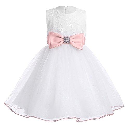 iiniim Baby Mädchen Kleid Prinzessin Kleid Ärmellos Mesh Brautjungfern Kleid Taufkleid Festlich Partykleid Hochzeit Kleid Perle Rosa 80-86/12-18 Monate (Mädchen Glitzer-baby-tee)