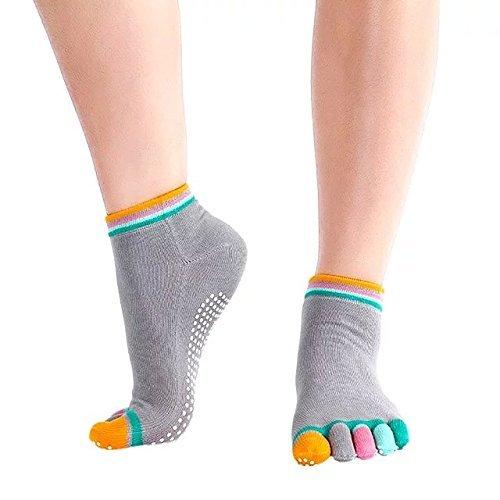 Das Leben Chaussettes Yoga Antidérapante en Coton Anti-Glissement Toesox Toe pour Femmes - Gris