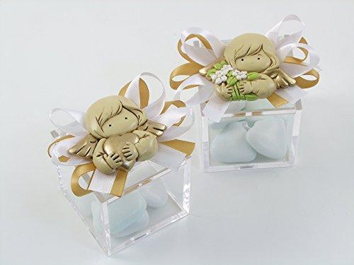 Cuorematto bomboniera solidale scatola plex 5x5x5 con magnete angelo femmina