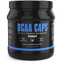 Preisvergleich für BCAA 1100 von Gym-Nutrition Essentielle Aminosäuren & Vitamin B6 Aminos 2:1:1 300 Vegane Kapseln Hochdosiert...