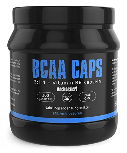 GYM-NUTRITION BCAA Aktion | Buy one get one Shaker for FREE | 300 Vegane Kapseln + Vitamin B6 Hochdosiert 2:1:1 | In Deutscher Premium Qualität | 300 Kapseln | Vegan | Made in Germany