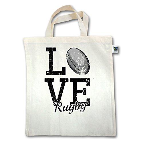 Sonstige Sportarten - Love Rugby - Unisize - Natural - XT500 - Jutebeutel kurzer Henkel (Baumwoll-rugby-kurz)