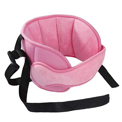 Fascia testa seggiolino auto,supporto testa bambini cuscino da viaggio regolabile poggiatesta auto bambini confortevole per dormire sicurezza lunghi periodi di guida, rosa