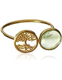 Córdoba Jewels | Anillo en plata de ley 925 bañada en oro. Diseño Árbol de la Vida Esmeralda Oro