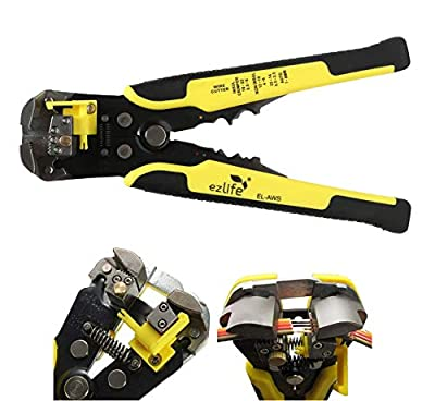 EZ Life Self-Adjusting Automatic Cable Cutter Crimper with 5 in 1 Multi-Tool Wire Stripping Cutting Pliers, 10-24 AWG, Large (Yellow)