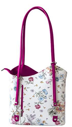 Rucksack Handtaschen 2 in 1 Damentaschen Ledertasche Lederrucksack Designer Luxus Henkeltasche mit Blumenmuster Tasche aus Echt Leder (Pink)