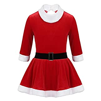 TiaoBug Disfraz Papá Noel Terciopelo de Navidad Halloween Carnaval con Cinturón Vestido de Santa Claus Niña en Tutú de Danza Ballet Painaje Actuación