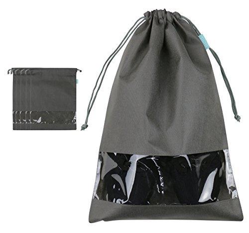 Bolsa de almacenamiento portátil para zapatos de viaje con ventana transparente, paquete de 5, gris oscuro