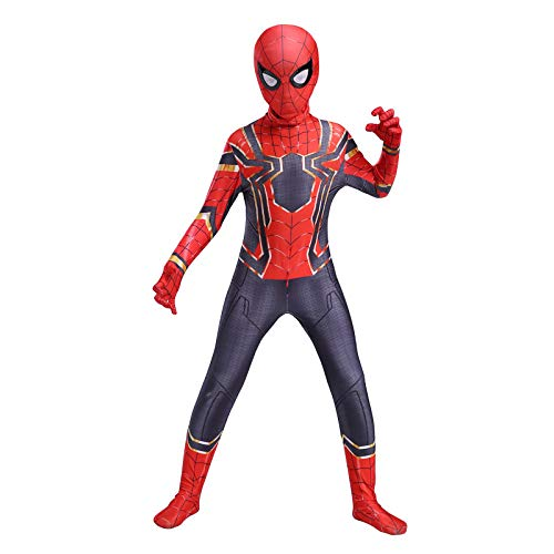 RNGNBKLS Kind Spiderman Kostüm Halloween Karneval Cosplay Party Anzug Superheld Spandex/Lycra Verkleidung,A-140(130-139cm)