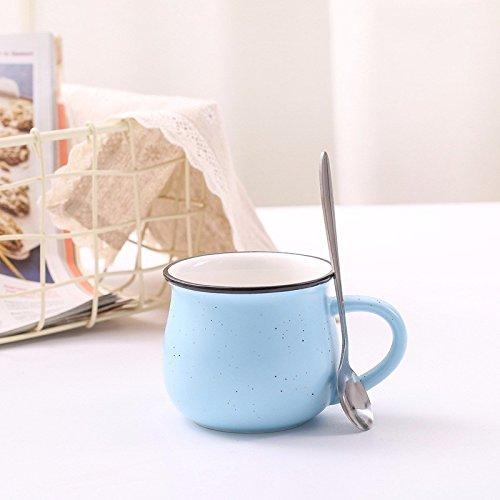 TIANLIANG04 Becher Kaffeetassen Keramiktasse_Imitation Emaille Tasse, 301-400 Ml, Kleinen Blauen