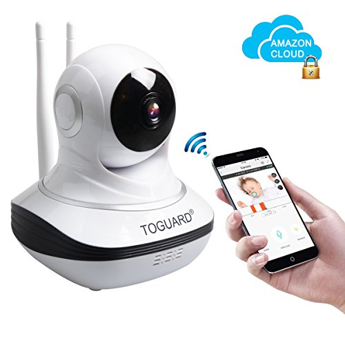 Toguard Security IP Camera Amazon Cloud Storage WiFi Video Surveillance Camera HD Wireless Security Camera Nanny Cam WiFi Pan/Tilt Baby Monitor Video Recorder Dome Camera With Live Steam/P2P/Two Way Audio / IR-CUT / Night Vision / Motion Detection Alert/ Cloud Storage / Mobile Remote Viewing ( Free App supports iOS Android)