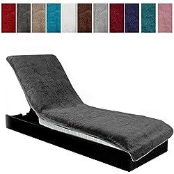 Jemidi Housse de protection en éponge 75cmx200cm pour transat/chaise longue 75cm x 200cm anthracite