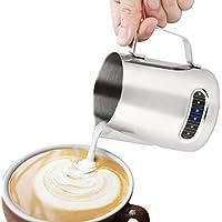 FlowersSea Jarra de Espumador de Leche de Acero Inoxidable 600ml Perfecto para Máquina de Café Espresso para Espmadora