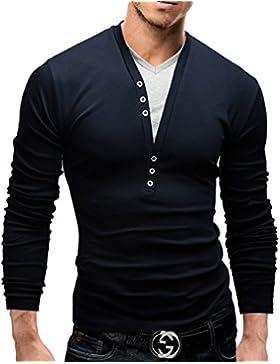 MERISH Maglietta da Uomo, con bottoni decorativi, casual chic , Longsleeve, 5 vari colori, design 2 in 1, Slim...