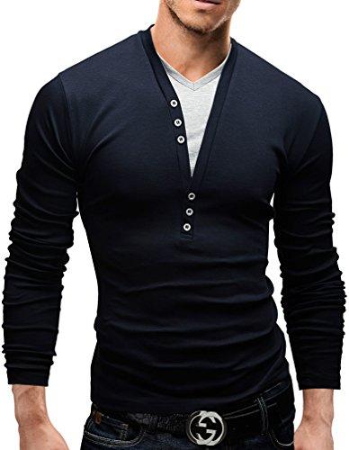 MERISH Maglietta da Uomo, con bottoni decorativi, casual chic , Longsleeve, 5 vari colori,...