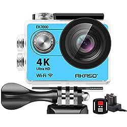 AKASO Caméra Sport Etanche 4k WiFi Action Cam 30fps, Caméscope Ultra HD, Écran LCD, Grand Angle 170°, 2 Batteries Rechargeables 1050mAh, 2.4GO Télécommande, 19 Kits d'Accessoires - Bleu