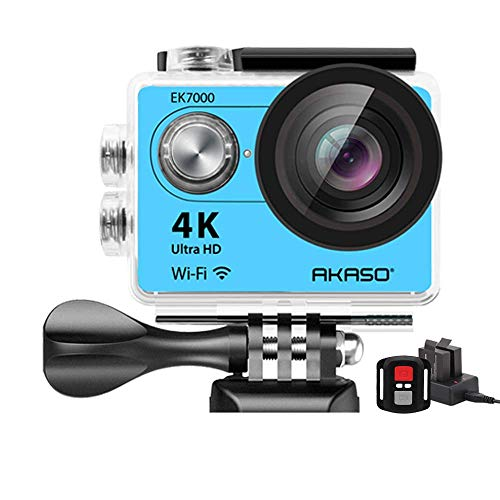 AKASO Action Cam Sport Action Kamera 4K Ultra Weitwinkel Full HD Kamera mit 12MP WiFi Funktion Wasserdichte Kamera 2 Zoll LCD Bildschirm 2.4G Fernbedienung mit Zubehöre Kits Blau