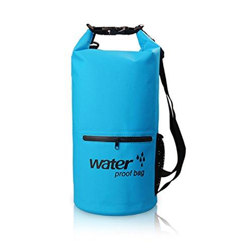 C-bag Wasserdichte Tasche/Trockentasche/Dry Bag Sack 10L Blau Wasserdichte Rucksack für Camping Boote Schwimmen Radeln Motor Doppelte Schulter-Gurten (10 Liter, Blau) (Doppelte Wellen-motor)