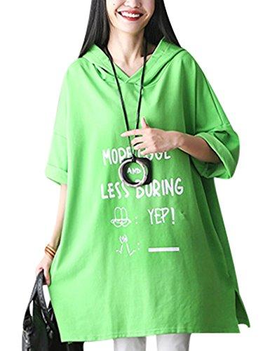 Youlee Donna Batwing Manica Lettera Stampa Taglia Grossa Felpa con Cappuccio Verde