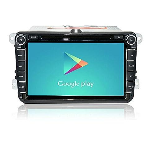 Android radio st¨¦r¨¦o 4.4 voiture pour passat vw b6 Golf 5 Quad Core 8 pouces 1024 * 600 DVD de voiture Double navigation GPS Din OBD DVR inclure peut