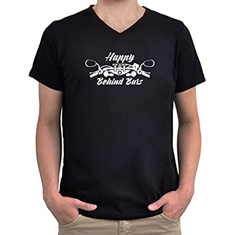 Camiseta cuello V Happy Behind Bars Racing Motorcycle