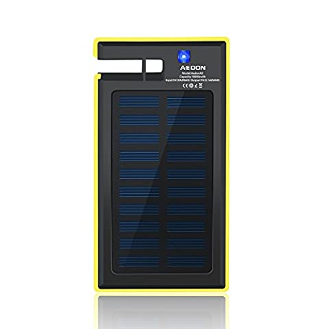 Aedon 10000mAh Multi-function Portable Solar Charger - 2-port Fast Charging Bank Rain-Resistant Shockproof External Backup Pack Power Bank for iPhone, iPad, Samsung and More, Phone Stand, Ideas for Christmas Gift