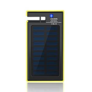 Aedon 10000mAh Multi-function Portable Solar Charger - 2-port Fast Charging Bank for iPhone, iPad, Samsung and More (black + yellow)