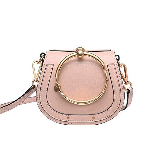 GSHGA Damen Echtes Leder Tasche Runde Ring Armband Handtasche Schulter Crossbody Sattel Retro Tasche,Pink Pink