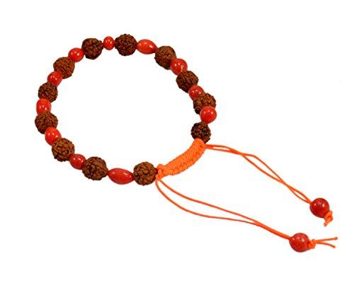 Amazingindiaonline 5Mukhi Rudraksha Armband Um Den Blutdruck zu regulieren und Körperfett mit Rot Bead