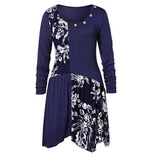 ♥Tefamore Mode féminine à Manches Longues O-Cou Dentelle Florale Patchwork Boutons Longues Top Chemisier(Bleu,Medium)