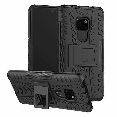 Huawei Mate 20 Hülle Anti Fall,Nnopbeclik Huawei Mate 20 Case Silikon 2 in 1[Eingebauter Ständer]Weich TPU+PC[Dual Layer]Armor Defender Schutzhülle Huawei Mate 20 Protection schwarz Leopard Hard Case Cover