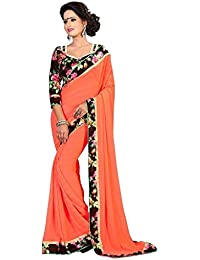 Fantasy Trendz Chiffon Saree For Women With Lace Border And Printed Blouse Piece