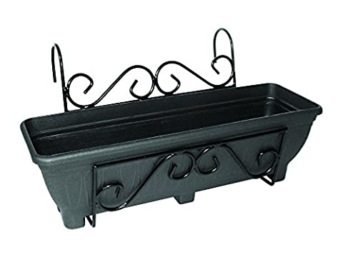Scrolled Hanging Balcony Planter - Trough holder for use on balconies, fences or railings. An ideal alternative to a window box.