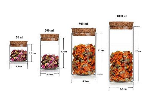 Maße der Glasdosen mit Korkdeckel