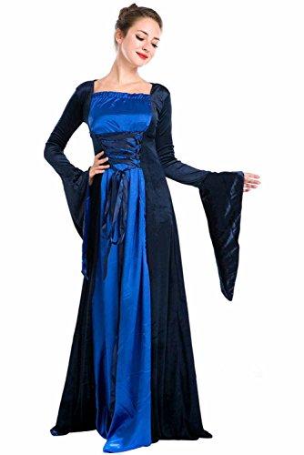 Von Königin Kostüm England - Vintage Mittelalter Kleid Cosplay Kostüm Langarm Königin von England Gothic Kleid Blau