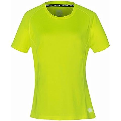 Time To Run - Donna Favourite Maglietta da Corsa a Manica Corta 42 Giallo