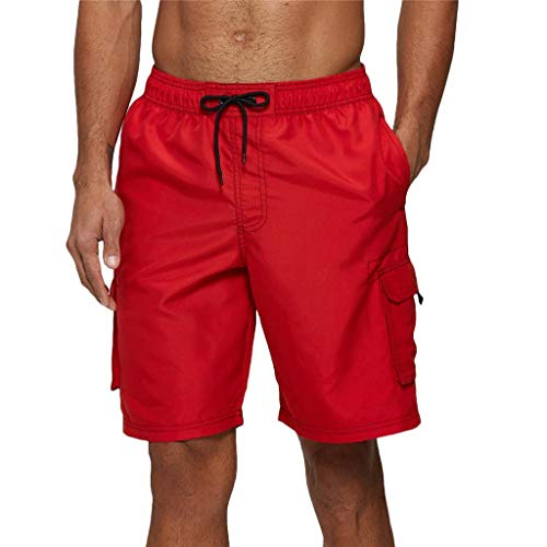 Arcweg Badehose für Herren Lang Mehr Taschen Badeshorts Männer Wasserabweisend Boardshorts Schnelltrocknend Jungen Beachshorts Bermudas mit Tunnelzug Rot 2XL(EU)-MarkeGröße 3XL