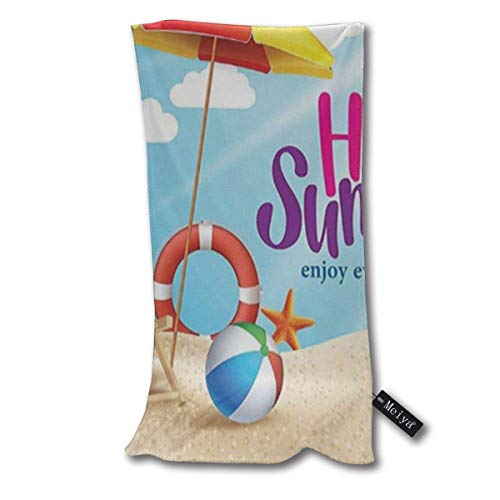 Hello Summer Enjoy Every Moment Quote With Sandy Beach Umbrella Holiday Design Hand Towels Beach Towel Instant Cool Ice Towel Gym Quick Dry Towel Microfibre Towel Cooling Sports Towel 12 X 27.5 Inch