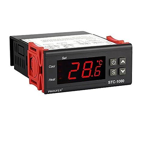 Proster Digitaler Temperaturregler Temperatur Regler Temperature Controller Thermostat Thermoelement Heizen oder Kühlen STC-1000 mit Temperaturfühler Sensor
